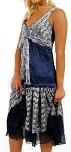 ΦΟΡΕΜΑ JLO ΜΕ ΔΑΝΤΕΛΑ ΣΚΟΥΡΟ ΜΠΛΕ/ΓΚΡΙ (XS) ένδυση  amp  υπόδηση προσφορεσ γυναικα φουστεσ φορεματα φορεματα