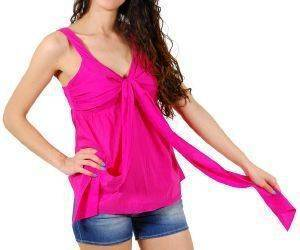 TOP DKNY COTTON VOILE ΦΟΥΞΙΑ