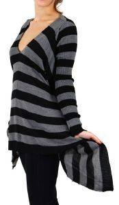 ΠΟΥΛΟΒΕΡ AGEL ΑΣΥΜΜΕΤΡΟ ΡΙΓΕ ΓΚΡΙ/ΜΑΥΡΟ (S) ένδυση  amp  υπόδηση προσφορεσ γυναικα μπλουζεσ πουλοβερ