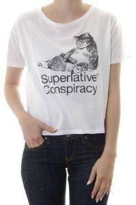 CROP TOP WESC POWER ZAP ΜΕ ΣΤΑΜΠΑ ΛΕΥΚΟ ένδυση  amp  υπόδηση γυναικα t shirts crop top