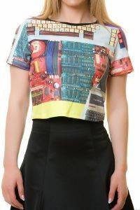 CROP TOP ROCK THE OUTFIT DIGITAL PRINT  ΠΟΛΥΧΡΩΜΟ