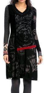 ΦΟΡΕΜΑ DESIGUAL BORIS MIDI ΜΕ ΣΧΕΔΙΑ ΜΑΥΡΟ (S) ένδυση γυναικα φορεματα casual