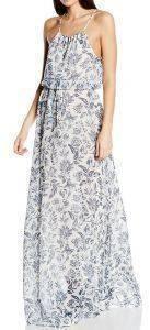 ΦΟΡΕΜΑ PEPE JEANS CARLA FLORAL MAXI ΜΠΛΕ/ΛΕΥΚΟ ένδυση γυναικα φορεματα βραδυνα
