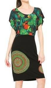 ΦΟΡΕΜΑ DESIGUAL AILANN TROPICAL PRINT ΜΑΥΡΟ/ΠΡΑΣΙΝΟ ένδυση  amp  υπόδηση γυναικα φορεματα casual