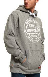 HOODIE SUPERDRY WORLD WIDE TICKET TYPE ΓΚΡΙ ΜΕΛΑΝΖΕ
