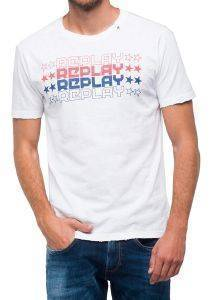 T-SHIRT REPLAY WITH STAR LOGO M3740 .000.22336 ΛΕΥΚΟ