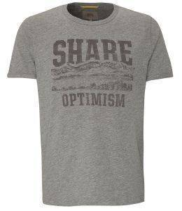 T-SHIRT CAMEL ACTIVE PRINT SHARE OPTIMISM CD-85-118117 ΓΚΡΙ ΜΕΛΑΝΖΕ