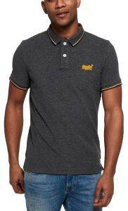 T-SHIRT POLO SUPERDRY CLASSIC POOLSIDE PIQUE M11007ET ΜΑΥΡΟ/ΓΚΡΙ ΜΕΛΑΝΖΕ