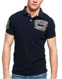 T-SHIRT POLO SUPERDRY CLASSIC SUPERSTATE PIQUE Μ11008ΕΤ ΣΚΟΥΡΟ ΜΠΛΕ
