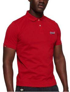 T-SHIRT POLO SUPERDRY MERCERISED LITE CITY M11012ST ΚΟΚΚΙΝΟ