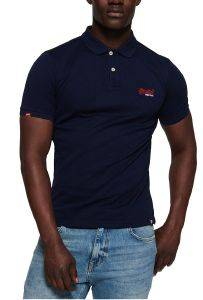T-SHIRT POLO SUPERDRY MERCERISED LITE CITY M11012ST ΣΚΟΥΡΟ ΜΠΛΕ