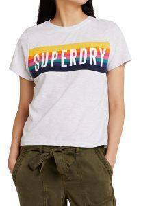 T-SHIRT SUPERDRY RAINBOW GRAPHIC G60143ST ΓΚΡΙ ΜΕΛΑΝΖΕ