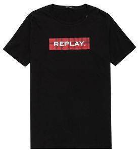 T-SHIRT REPLAY M3890 .000.22708 ΜΑΥΡΟ (M)