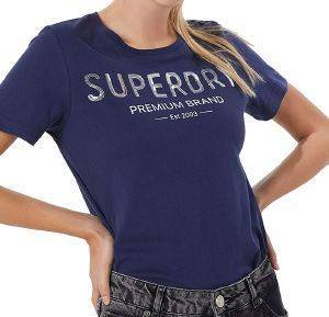 T-SHIRT SUPERDRY PREMIUM SEQUIN ENTRY W1010006A ΣΚΟΥΡΟ ΜΠΛΕ