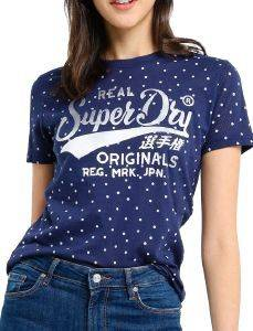 T-SHIRT SUPERDRY DOT AOP ENTRY W1010033A ΣΚΟΥΡΟ ΜΠΛΕ