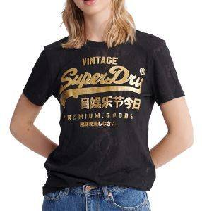 T-SHIRT SUPERDRY SNAKE BURNOUT ENTRY W1010090A ΜΑΥΡΟ