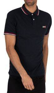 T-SHIRT POLO SUPERDRY CLASSIC MICRO LITE TIPPED M1110012A ΣΚΟΥΡΟ ΜΠΛΕ