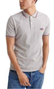 T-SHIRT POLO SUPERDRY CLASSIC MICRO LITE TIPPED M1110012A ΓΚΡΙ ΜΕΛΑΝΖΕ