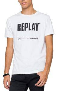 T-SHIRT REPLAY BLUE JEANS ESTABLISHED 1981 PRINT M3413 .000.22880 001 ΛΕΥΚΟ
