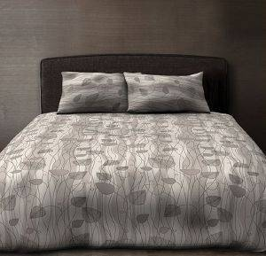 KOYBEΡΛΙ ΜΟΝΟ BIOKARPET GALLERY COMFORTER LEAVES 612 GRAY 170Χ240CM