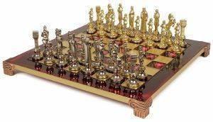 """ΣΚΑΚΙ ΜΕΤΑΛΛΙΚΟ MANOPOULOS """"ΑΝΑΓΕΝΝΗΣΗ"""" ΚΟΚΚΙΝΟ 36X36CM παιχνίδια σκακι σκακι"""