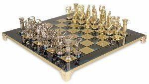 """ΣΚΑΚΙ ΜΕΤΑΛΛΙΚΟ MANOPOULOS """"ΤΟΞΟΤΗΣ"""" ΜΠΛΕ 44X44CM παιχνίδια σκακι σκακι"""