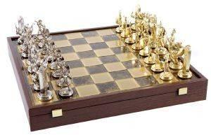 """ΣΚΑΚΙ ΜΕΤΑΛΛΙΚΟ MANOPOULOS """"ΑΘΗΝΑΙΚΟ"""" ΚΑΣΕΤΙΝΑ ΚΑΦΕ 54X54CM παιχνίδια σκακι σκακι"""