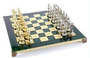"""ΣΚΑΚΙ ΜΕΤΑΛΛΙΚΟ MANOPOULOS """"ΑΝΑΓΕΝΝΗΣΗ"""" ΠΡΑΣΙΝΟ 36X36CM παιχνίδια σκακι σκακι"""