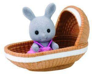 SYLVANIAN FAMILIES ΜΩΡΟ ΚΟΥΝΕΛΑΚΙ RABBIT BABY WITH CRIB [4558]