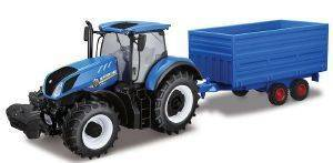 ΤΡΑΚΤΕΡ ΜΕ ΚΑΡΟΤΣΑ BBURAGO NEW HOLLAND FARM TRACTOR WITH HAY TRAILER 1:32