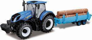 ΤΡΑΚΤΕΡ ΜΕ ΡΥΜΟΥΛΚΟΥΜΕΝΟ BBURAGO NEW HOLLAND FARM TRACTOR WITH LOG TRAILER 1:32