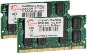 G.SKILL FA-5300CL5D-4GBSQ 4GB (2X2GB) SO-DIMM DDR2 PC2-5300 667MHZ DUAL CHANNEL  υπολογιστές μνημεσ sodimm