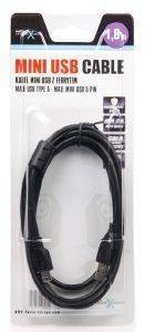 NATEC NKA-0432 MINI USB2.0 CABLE AM-BM5P 1.8M BLACK