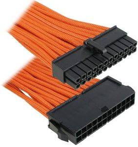 BITFENIX 24-PIN ATX EXTENSION 30CM - SLEEVED ORANGE/BLACK