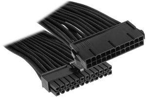 BITFENIX 24-PIN ATX EXTENSION 30CM - SLEEVED BLACK/BLACK