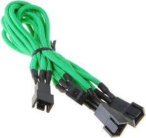 BITFENIX 3-PIN TO 3X 3-PIN ADAPTER 60CM - SLEEVED GREEN/BLACK