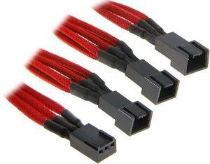 BITFENIX 3-PIN TO 3X 3-PIN ADAPTER 60CM - SLEEVED RED/BLACK