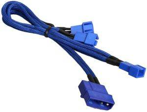 BITFENIX MOLEX TO 3X 3-PIN 5V ADAPTER 20CM - SLEEVED BLUE/BLUE