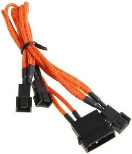 BITFENIX MOLEX TO 3X 3-PIN 5V ADAPTER 20CM - SLEEVED ORANGE/BLACK