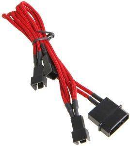 BITFENIX MOLEX TO 3X 3-PIN ADAPTER 20CM - SLEEVED RED/BLACK