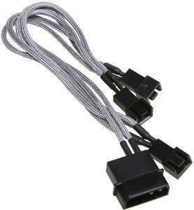 BITFENIX MOLEX TO 3X 3-PIN ADAPTER 20CM - SLEEVED SILVER/BLACK