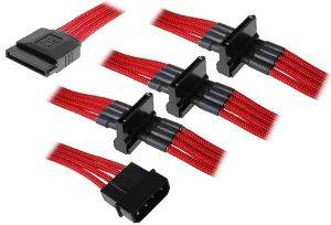 BITFENIX MOLEX TO 4X SATA ADAPTER 20CM - SLEEVED RED/BLACK