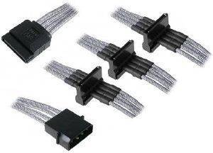 BITFENIX MOLEX TO 4X SATA ADAPTER 20CM - SLEEVED SILVER/BLACK