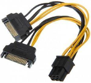 AKASA AK-CBPW13-15 2X15-PIN SATA POWER TO 1X6-PIN PCIE ADAPTER CABLE 15CM