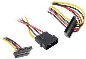 AKASA AK-CBPW01-30 POWER ADAPTER 4-PIN MOLEX TO 2X15-PIN SATA POWER 30CM