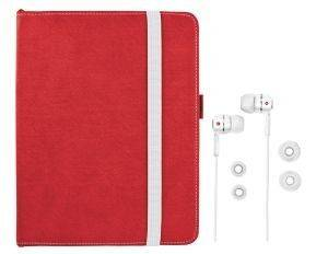 TRUST 19107 PREMIUM FOLIO STAND & IN-EAR HEADPHONE FOR IPAD RED/WHITE