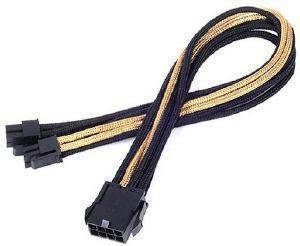 SILVERSTONE PP07-EPS8BG EPS 8-PIN TO EPS/ATX 4+4-PIN CABLE 300MM BLACK/GOLD