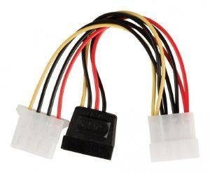 VALUELINE VLCP73525V0.15 POWER ADAPTER CABLE SATA 15-PIN - MOLEX MALE +MOLEX F/F 0.15M