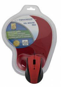 ESPERANZA EM125R OPTICAL MOUSE WITH GEL MOUSE PAD RED