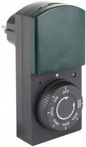 REV TIMER WITH DIMMER AND COUNTDOWN FUNCTION IP44 BLACK/GREEN